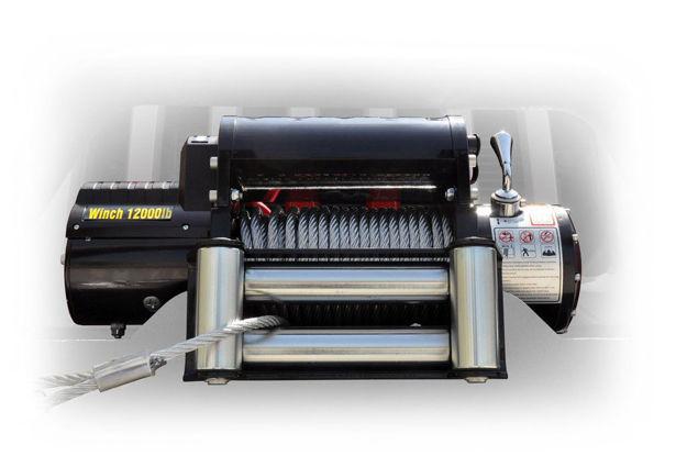 DV8 Offroad 12000 pound Winch Black w/ Steel Cable